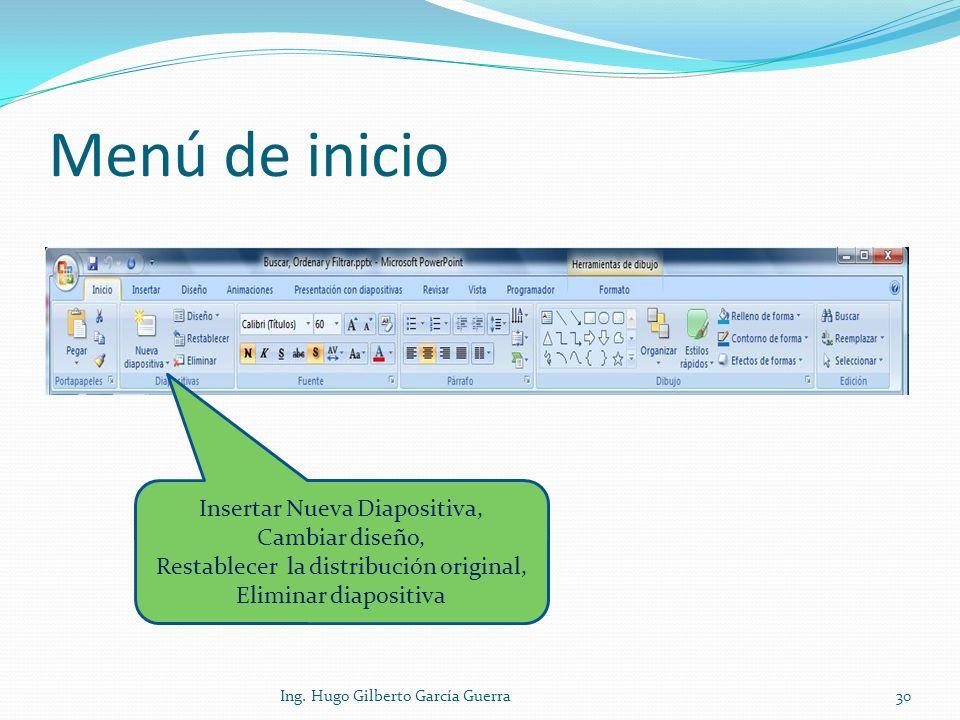 Menú de inicio Insertar Nueva Diapositiva, Cambiar diseño, Restablecer la distribución original, Eliminar diapositiva 30Ing. Hugo Gilberto García Guer