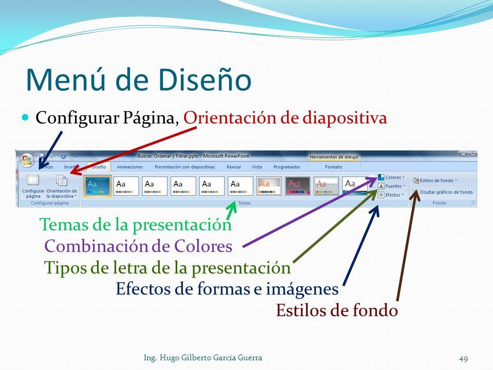 Menú de Diseño Configurar Página, Orientación de diapositiva Temas de la presentación Combinación de Colores Tipos de letra de la presentación Efectos