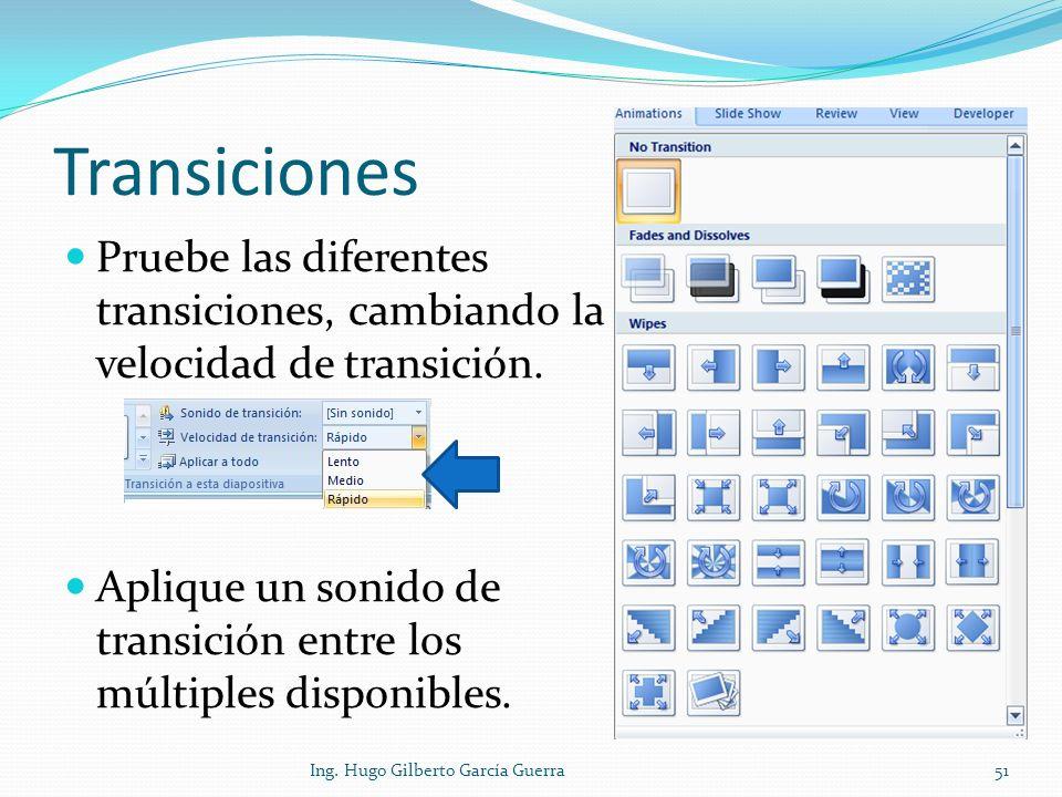 Transiciones Pruebe las diferentes transiciones, cambiando la velocidad de transición. Aplique un sonido de transición entre los múltiples disponibles
