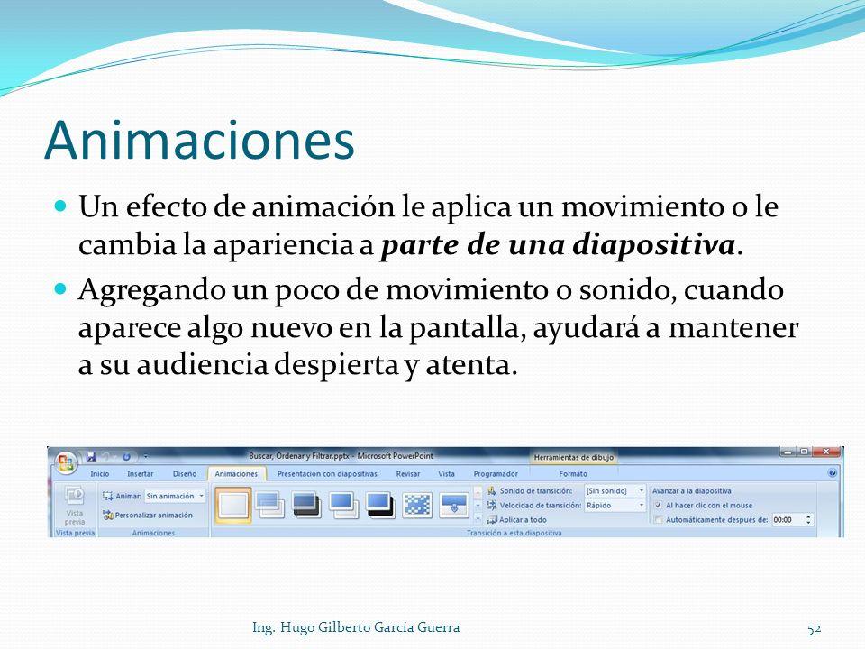 Animaciones Un efecto de animación le aplica un movimiento o le cambia la apariencia a parte de una diapositiva. Agregando un poco de movimiento o son