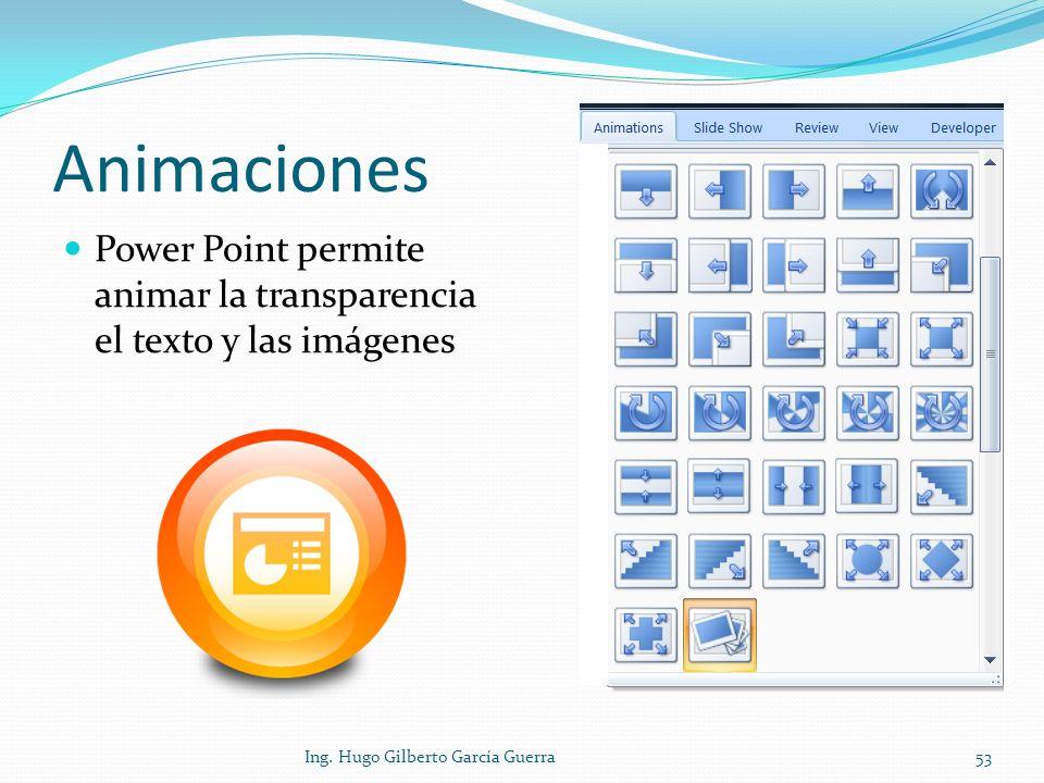 Animaciones Power Point permite animar la transparencia el texto y las imágenes 53Ing. Hugo Gilberto García Guerra
