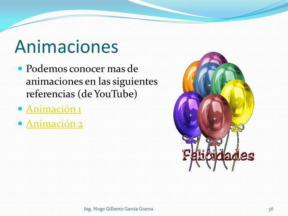 Animaciones Podemos conocer mas de animaciones en las siguientes referencias (de YouTube) Animación 1 Animación 2 Ing. Hugo Gilberto García Guerra56