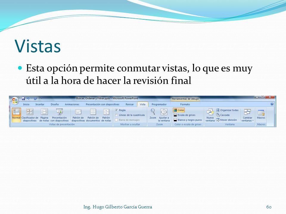 Vistas Esta opción permite conmutar vistas, lo que es muy útil a la hora de hacer la revisión final 60Ing. Hugo Gilberto García Guerra