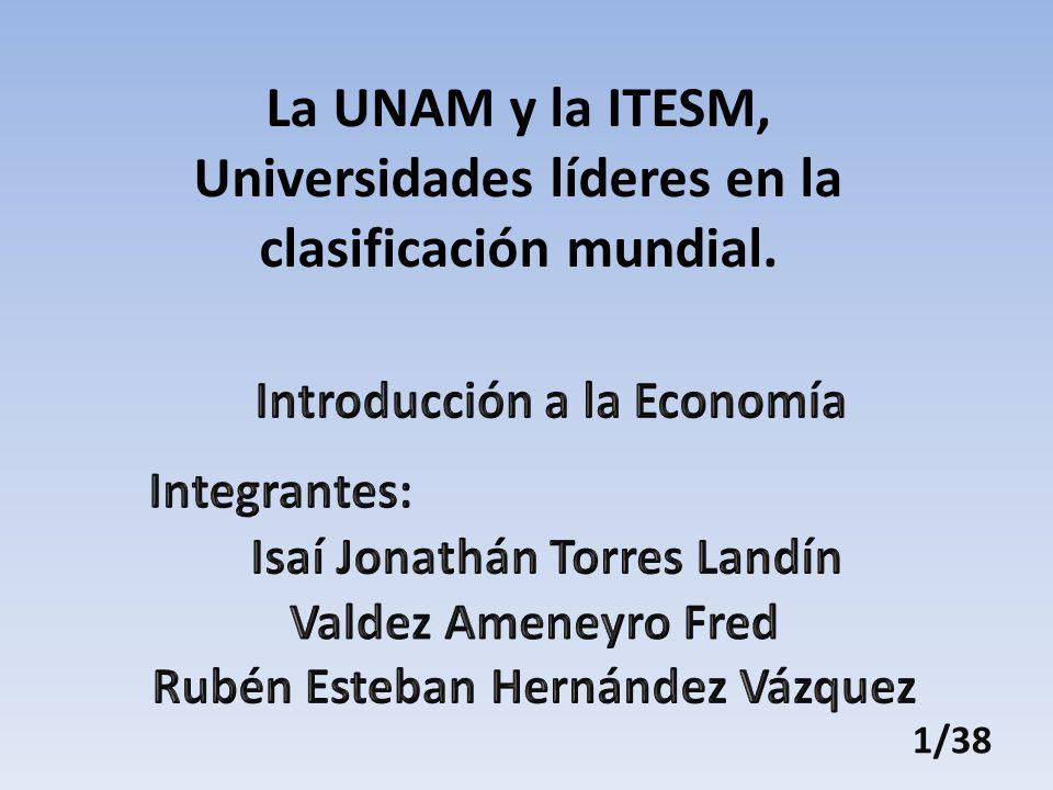1/38 La UNAM y la ITESM, Universidades líderes en la clasificación mundial.