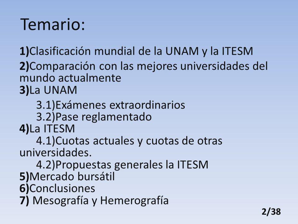 Temario: 1)Clasificación mundial de la UNAM y la ITESM 2)Comparación con las mejores universidades del mundo actualmente 3)La UNAM 3.1)Exámenes extraordinarios 3.2)Pase reglamentado 4)La ITESM 4.1)Cuotas actuales y cuotas de otras universidades.