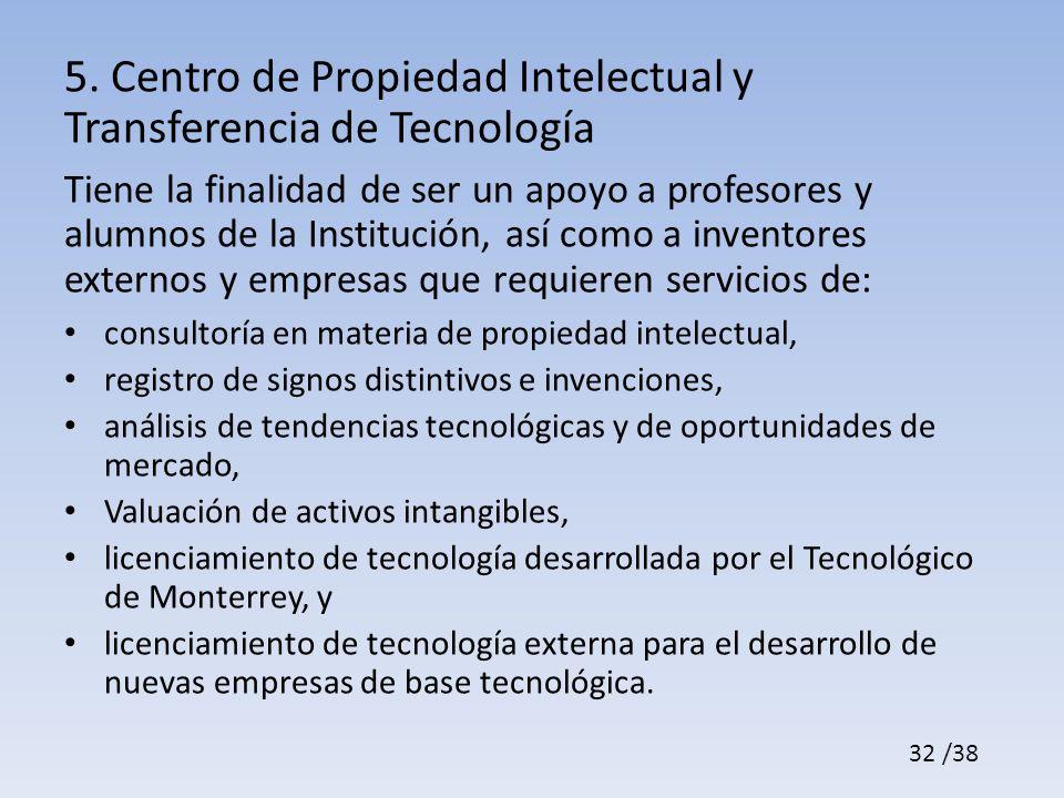 5. Centro de Propiedad Intelectual y Transferencia de Tecnología Tiene la finalidad de ser un apoyo a profesores y alumnos de la Institución, así como