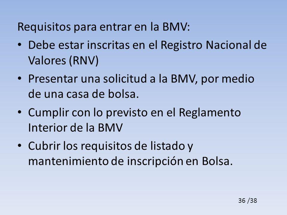 Requisitos para entrar en la BMV: Debe estar inscritas en el Registro Nacional de Valores (RNV) Presentar una solicitud a la BMV, por medio de una casa de bolsa.