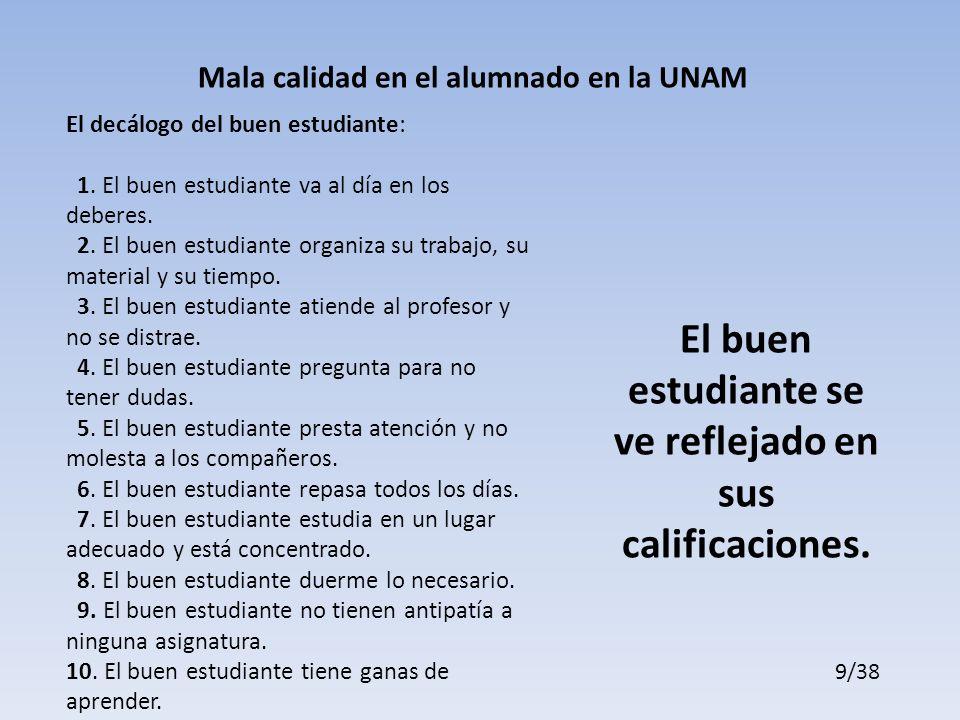 Mala calidad en el alumnado en la UNAM El decálogo del buen estudiante: 1.