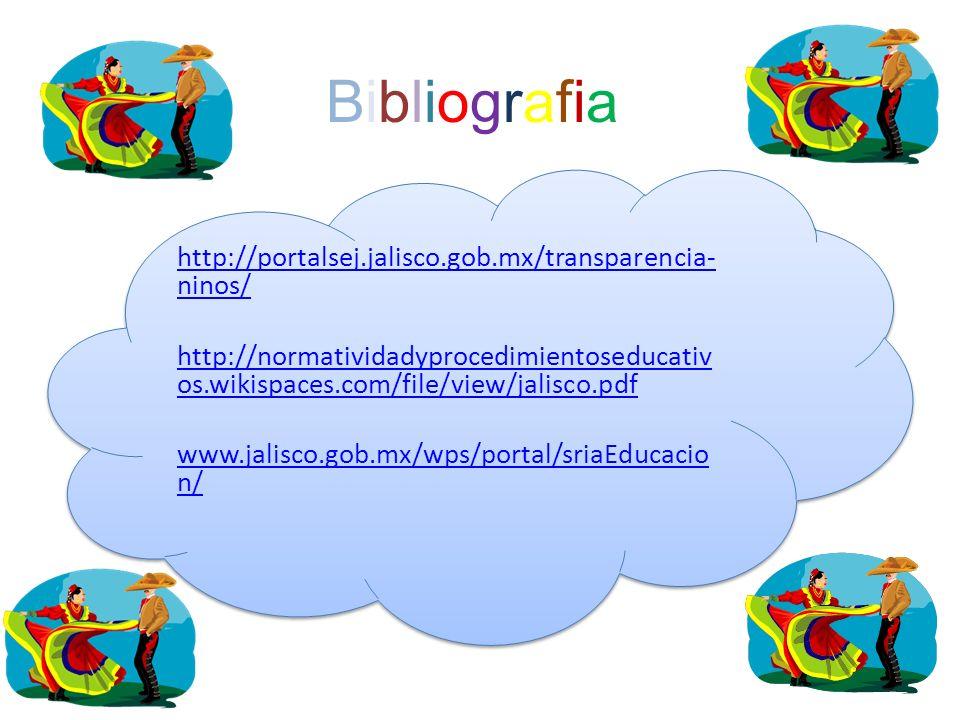 BibliografiaBibliografia http://portalsej.jalisco.gob.mx/transparencia- ninos/ http://normatividadyprocedimientoseducativ os.wikispaces.com/file/view/