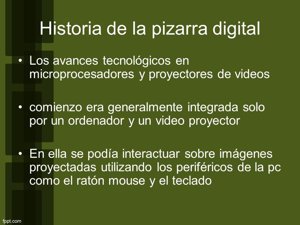 Historia de la pizarra digital Los avances tecnológicos en microprocesadores y proyectores de videos comienzo era generalmente integrada solo por un o