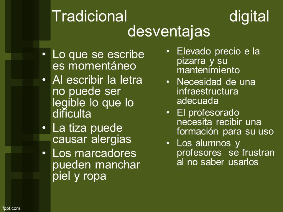 Tradicional digital desventajas Lo que se escribe es momentáneo Al escribir la letra no puede ser legible lo que lo dificulta La tiza puede causar ale