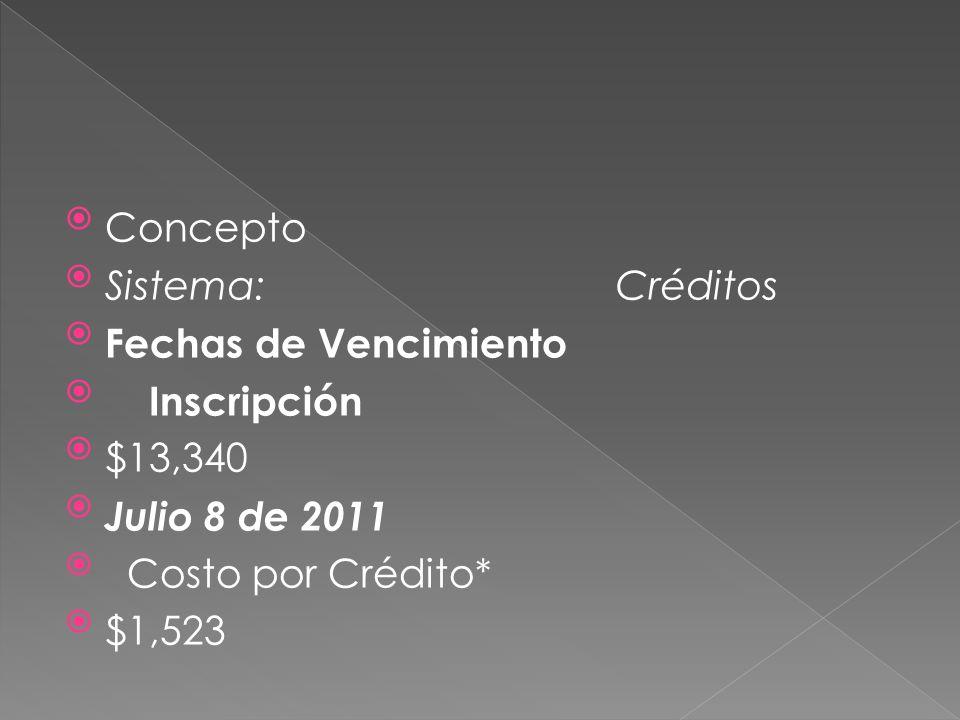 Concepto Sistema: Créditos Fechas de Vencimiento Inscripción $13,340 Julio 8 de 2011 Costo por Crédito* $1,523