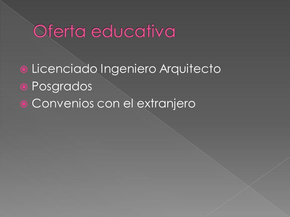 Licenciado Ingeniero Arquitecto Posgrados Convenios con el extranjero