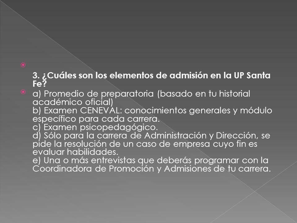 3. ¿Cuáles son los elementos de admisión en la UP Santa Fe.