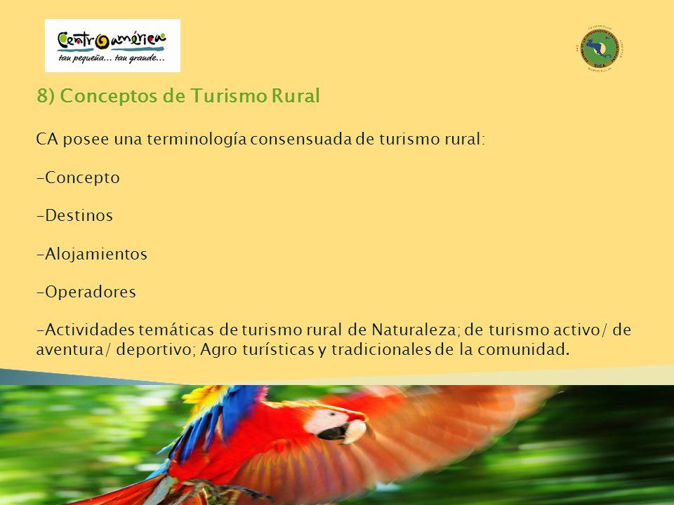 8) Conceptos de Turismo Rural CA posee una terminología consensuada de turismo rural: -Concepto -Destinos -Alojamientos -Operadores -Actividades temát