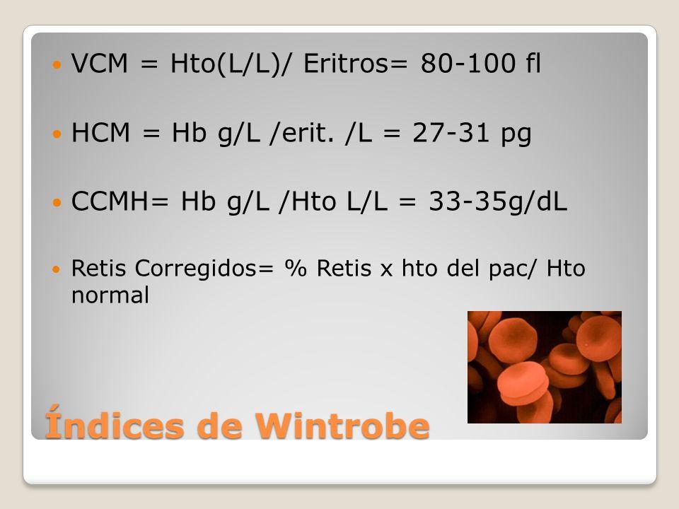 Índices de Wintrobe VCM = Hto(L/L)/ Eritros= 80-100 fl HCM = Hb g/L /erit. /L = 27-31 pg CCMH= Hb g/L /Hto L/L = 33-35g/dL Retis Corregidos= % Retis x