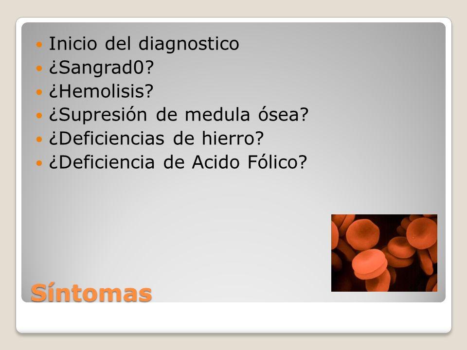 Síntomas Inicio del diagnostico ¿Sangrad0? ¿Hemolisis? ¿Supresión de medula ósea? ¿Deficiencias de hierro? ¿Deficiencia de Acido Fólico?