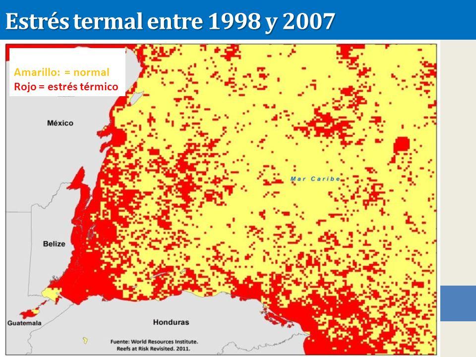 Estrés termal entre 1998 y 2007 Amarillo: = normal Rojo = estrés térmico