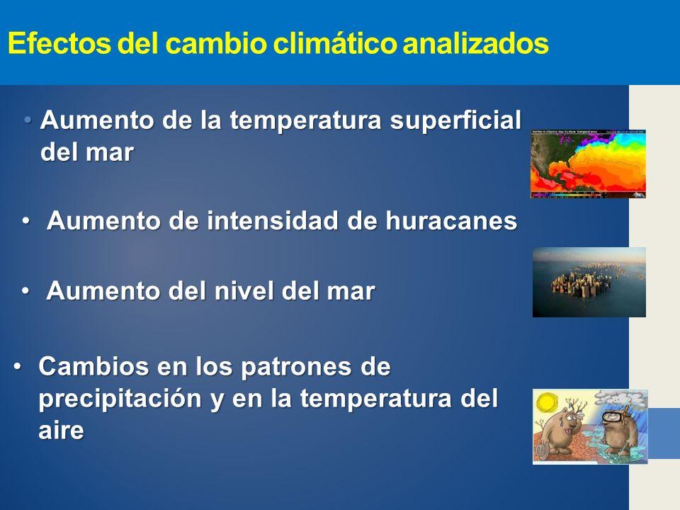 Efectos del cambio climático analizados Aumento de la temperatura superficial del marAumento de la temperatura superficial del mar Aumento del nivel del marAumento del nivel del mar Cambios en los patrones de precipitación y en la temperatura del aireCambios en los patrones de precipitación y en la temperatura del aire Aumento de intensidad de huracanesAumento de intensidad de huracanes