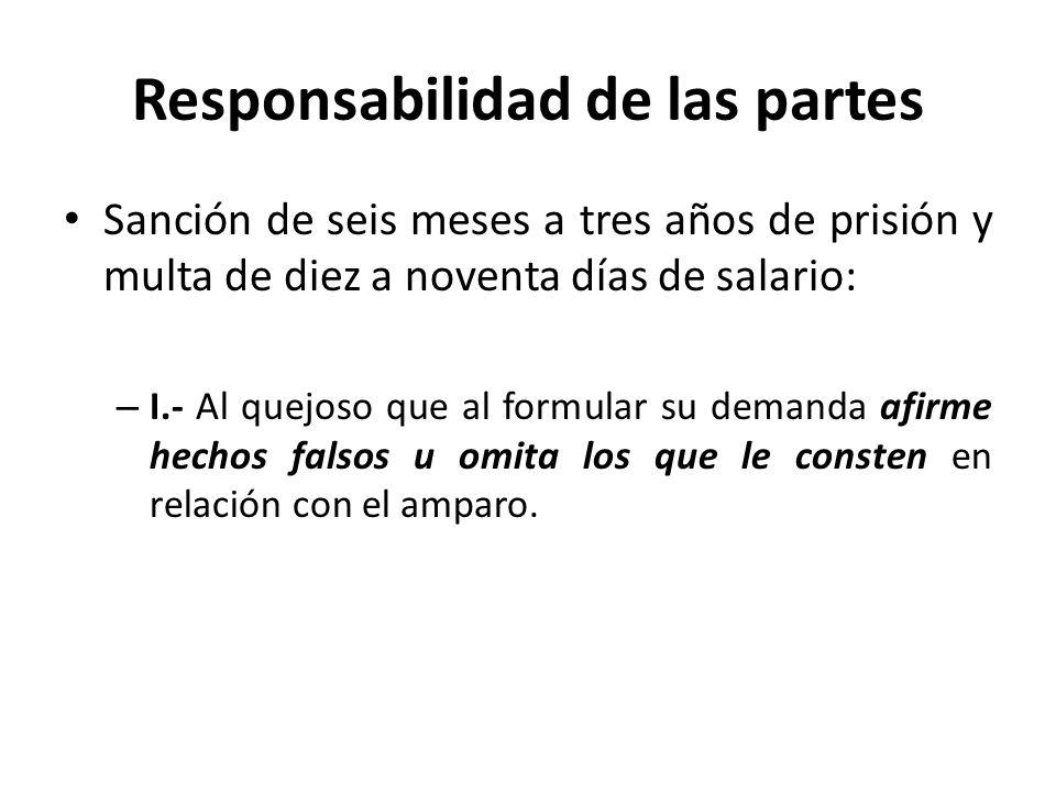 Responsabilidad de las partes Sanción de seis meses a tres años de prisión y multa de diez a noventa días de salario: – I.- Al quejoso que al formular