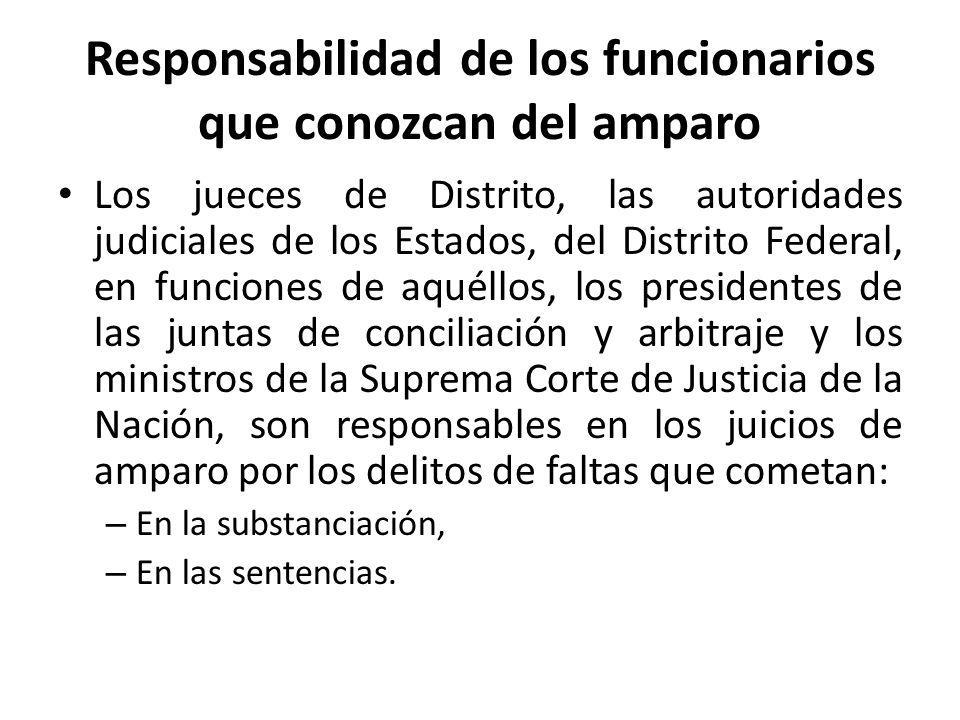Responsabilidad de los funcionarios que conozcan del amparo Los jueces de Distrito, las autoridades judiciales de los Estados, del Distrito Federal, e