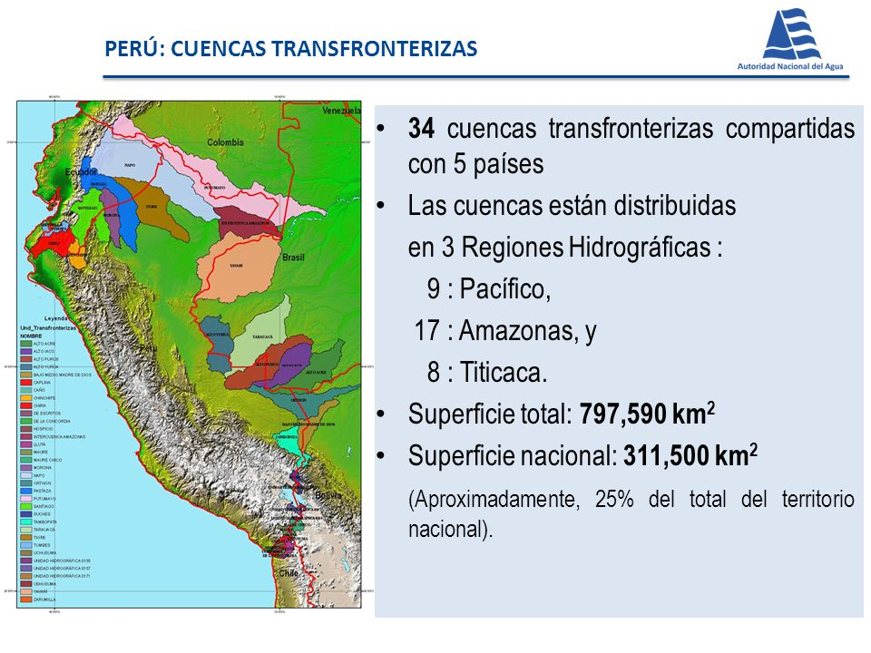 34 cuencas transfronterizas compartidas con 5 países Las cuencas están distribuidas en 3 Regiones Hidrográficas : 9 : Pacífico, 17 : Amazonas, y 8 : T
