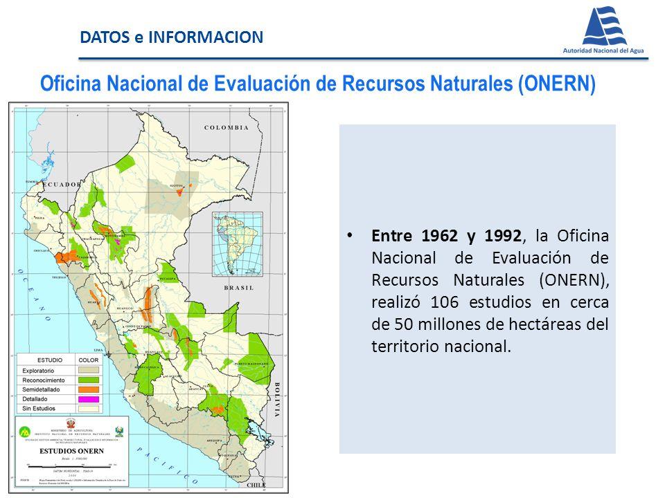 Instituto Nacional de Recursos Naturales (INRENA) El INRENA, entre los años 1993 y 2007: Automatizó siete (07) estudios a nivel de Reconocimiento que ONERN no llegó a publicar.