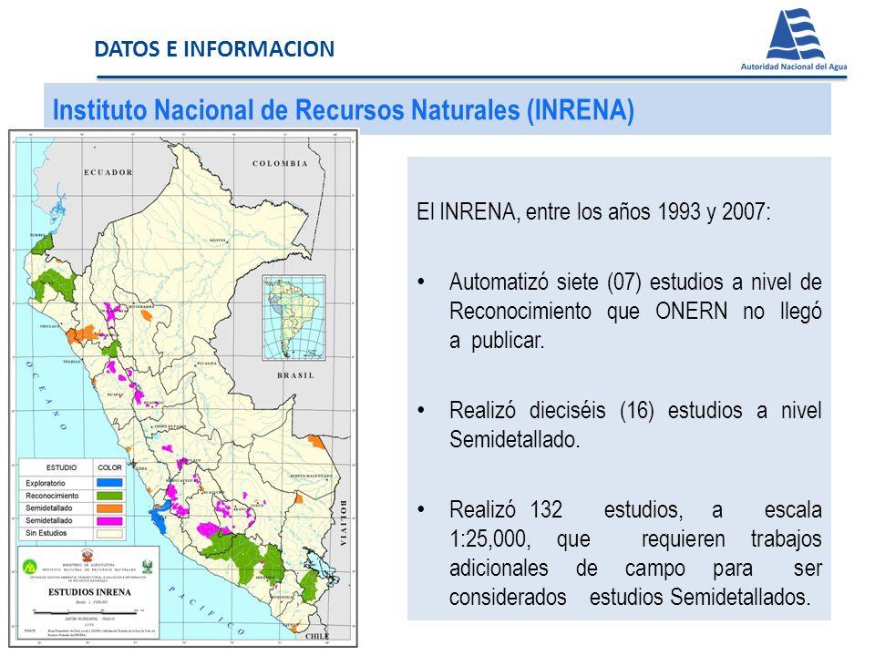 Instituto Nacional de Recursos Naturales (INRENA) El INRENA, entre los años 1993 y 2007: Automatizó siete (07) estudios a nivel de Reconocimiento que