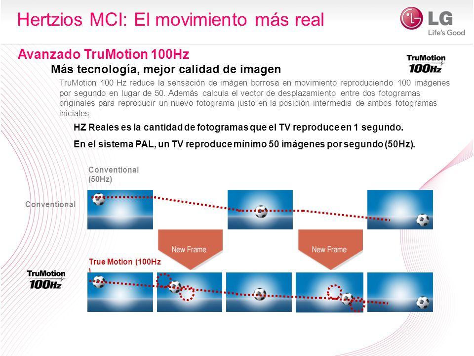 1/50 th s Duración (50Hz) 1/100 th s Duración (100Hz) Fotogramas del vídeo original Fotogramas interpolados TruMotion 100Hz Más tecnología, mejor calidad de imagen Hertzios MCI: El movimiento más real