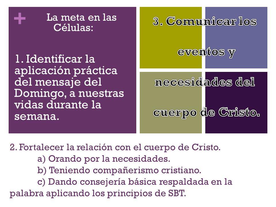 + 2. Fortalecer la relación con el cuerpo de Cristo. a) Orando por la necesidades. b) Teniendo compañerismo cristiano. c) Dando consejería básica resp