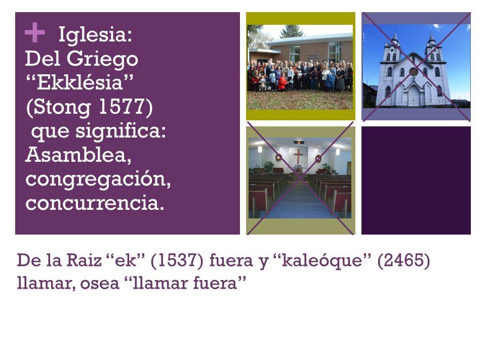 + De la Raiz ek (1537) fuera y kaleóque (2465) llamar, osea llamar fuera Iglesia: Del Griego Ekklésia (Stong 1577) que significa: Asamblea, congregaci