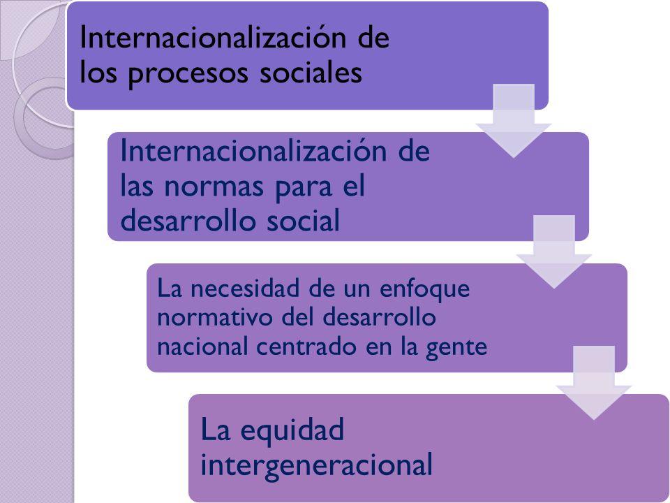 Internacionalización de los procesos sociales Internacionalización de las normas para el desarrollo social La necesidad de un enfoque normativo del de