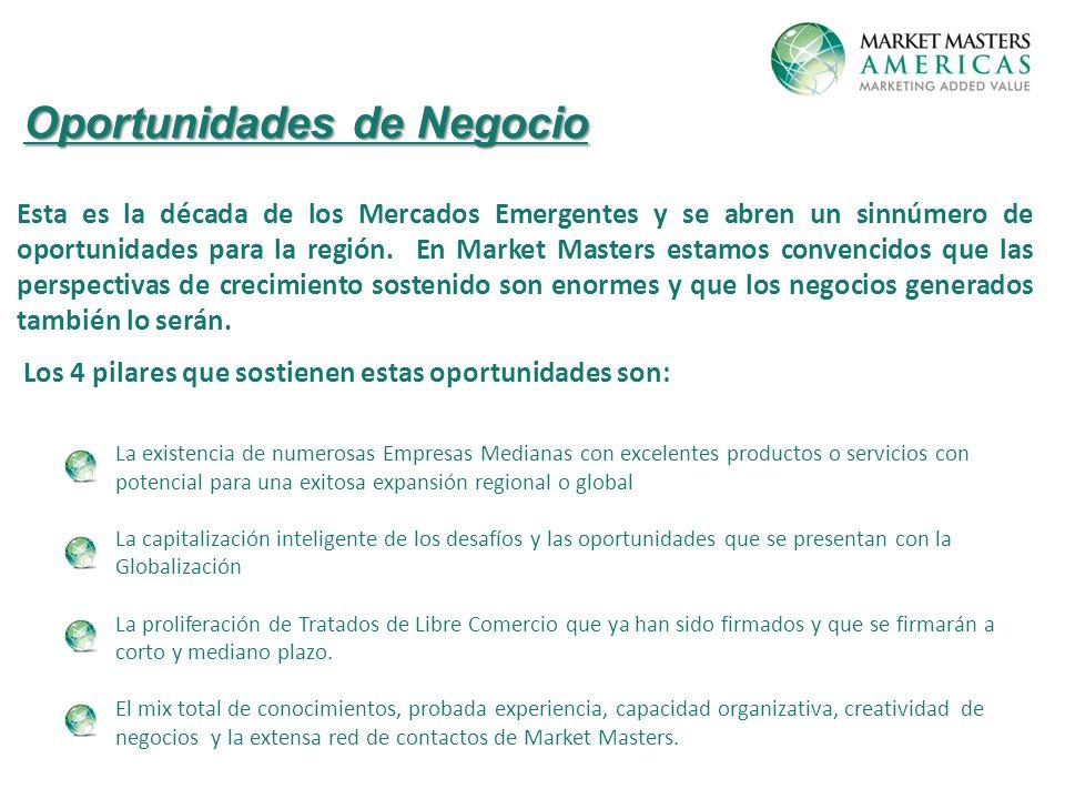 Oportunidades de Negocio Esta es la década de los Mercados Emergentes y se abren un sinnúmero de oportunidades para la región.