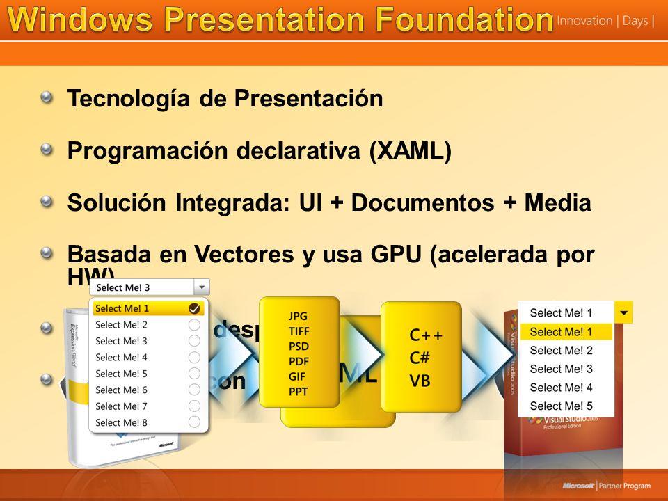 Tecnología de Presentación Programación declarativa (XAML) Solución Integrada: UI + Documentos + Media Basada en Vectores y usa GPU (acelerada por HW) Facilidad de despliegue Integración con Windows Forms