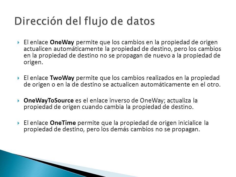 El enlace OneWay permite que los cambios en la propiedad de origen actualicen automáticamente la propiedad de destino, pero los cambios en la propiedad de destino no se propagan de nuevo a la propiedad de origen.