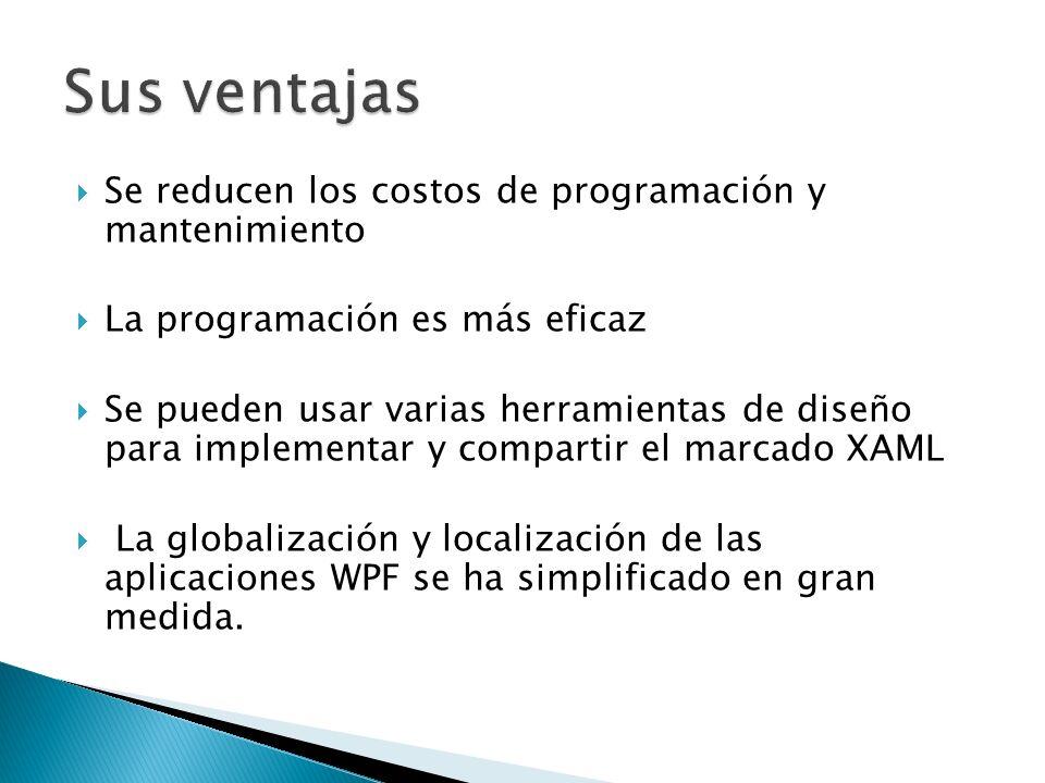 Se reducen los costos de programación y mantenimiento La programación es más eficaz Se pueden usar varias herramientas de diseño para implementar y compartir el marcado XAML La globalización y localización de las aplicaciones WPF se ha simplificado en gran medida.