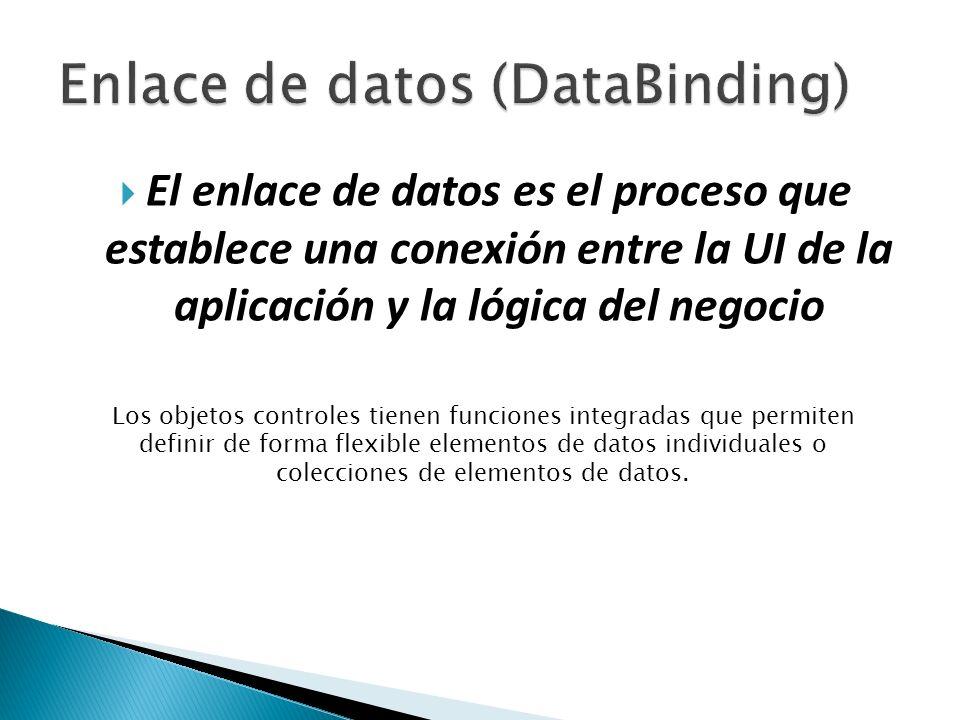 El enlace de datos es el proceso que establece una conexión entre la UI de la aplicación y la lógica del negocio Los objetos controles tienen funciones integradas que permiten definir de forma flexible elementos de datos individuales o colecciones de elementos de datos.