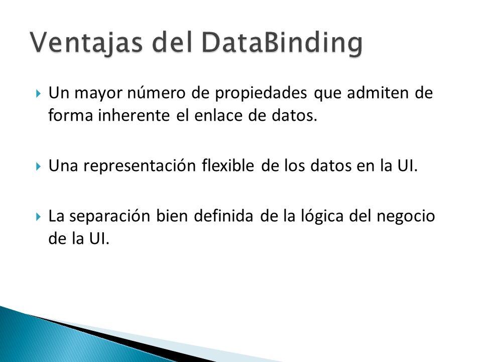 Un mayor número de propiedades que admiten de forma inherente el enlace de datos.
