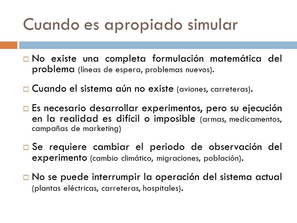 Cuando es apropiado simular No existe una completa formulación matemática del problema (líneas de espera, problemas nuevos). Cuando el sistema aún no