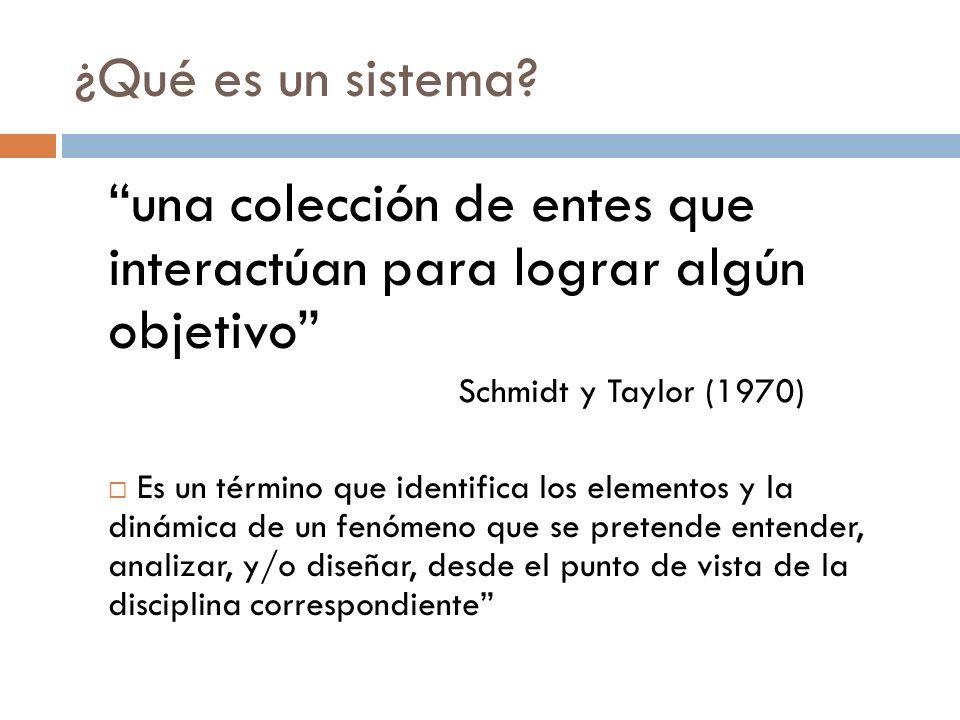 ¿Qué es un sistema? una colección de entes que interactúan para lograr algún objetivo Schmidt y Taylor (1970) Es un término que identifica los element