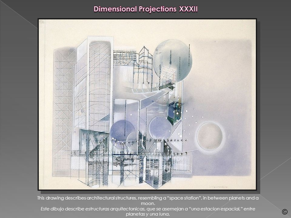 This drawing of intersecting dimensional and architectural structures suggests a Space Station.