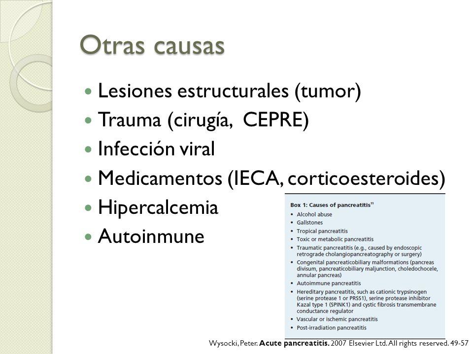 Otras causas Lesiones estructurales (tumor) Trauma (cirugía, CEPRE) Infección viral Medicamentos (IECA, corticoesteroides) Hipercalcemia Autoinmune Wy