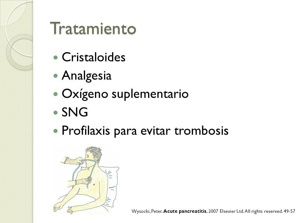 Tratamiento Cristaloides Analgesia Oxígeno suplementario SNG Profilaxis para evitar trombosis Wysocki, Peter. Acute pancreatitis. 2007 Elsevier Ltd. A