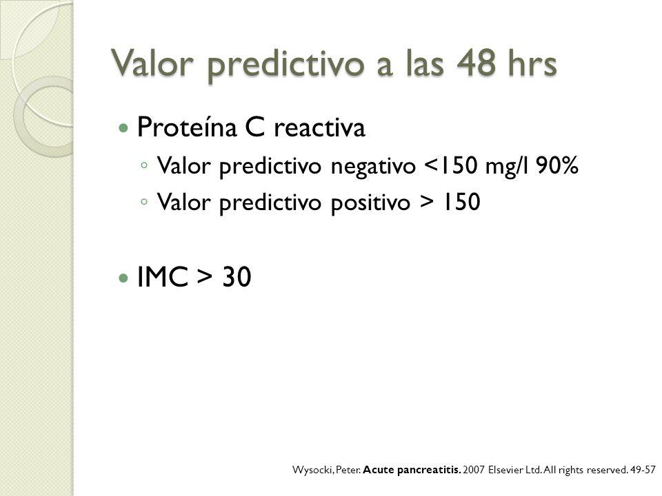 Valor predictivo a las 48 hrs Proteína C reactiva Valor predictivo negativo <150 mg/l 90% Valor predictivo positivo > 150 IMC > 30 Wysocki, Peter. Acu