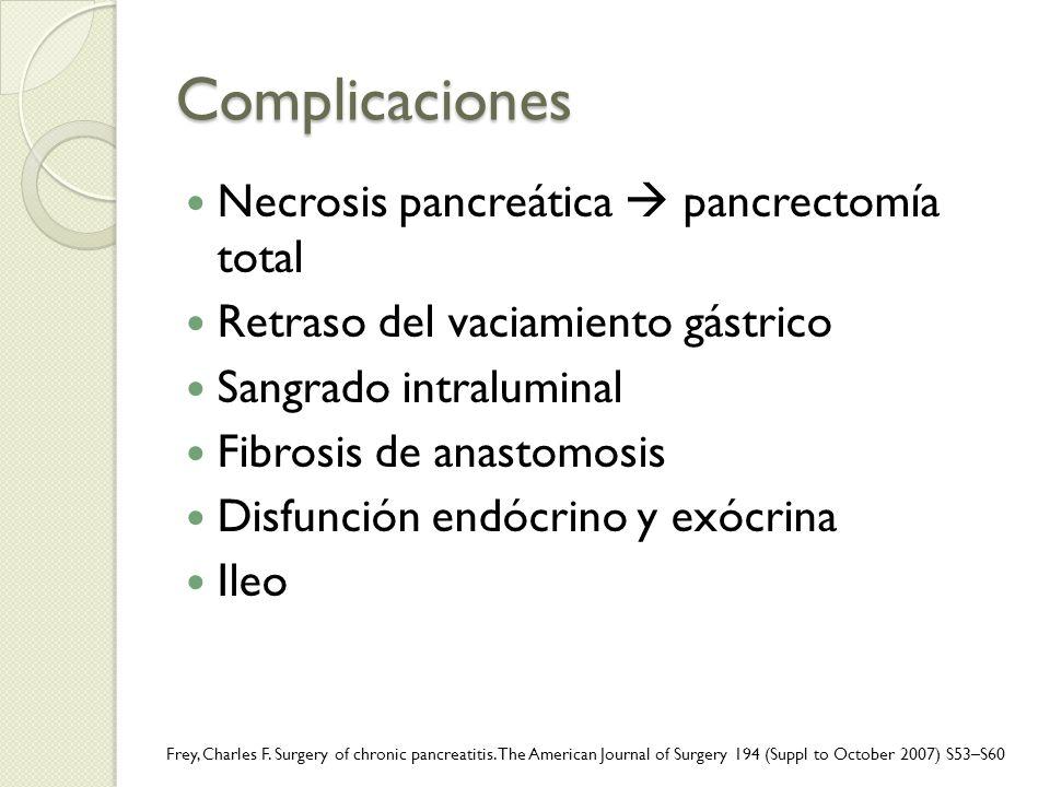 Complicaciones Necrosis pancreática pancrectomía total Retraso del vaciamiento gástrico Sangrado intraluminal Fibrosis de anastomosis Disfunción endóc