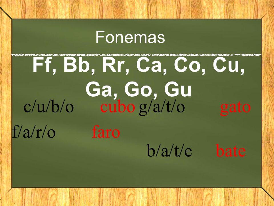 Silabas Ff, Bb, Rr, Ca, Co, Cu, Ga, Go, Gu Fo-ca foca Bo-la bola ca-rrocarro go-ma goma