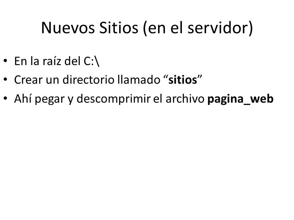 Nuevos Sitios (en el servidor) En la raíz del C:\ Crear un directorio llamado sitios Ahí pegar y descomprimir el archivo pagina_web
