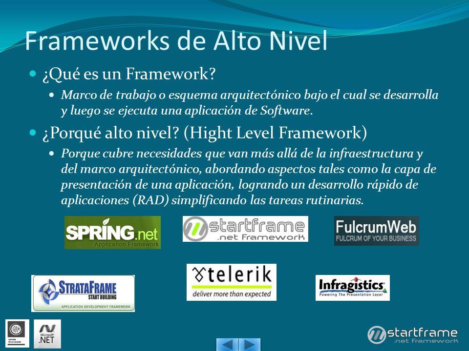 Frameworks de Alto Nivel ¿Qué es un Framework? Marco de trabajo o esquema arquitectónico bajo el cual se desarrolla y luego se ejecuta una aplicación