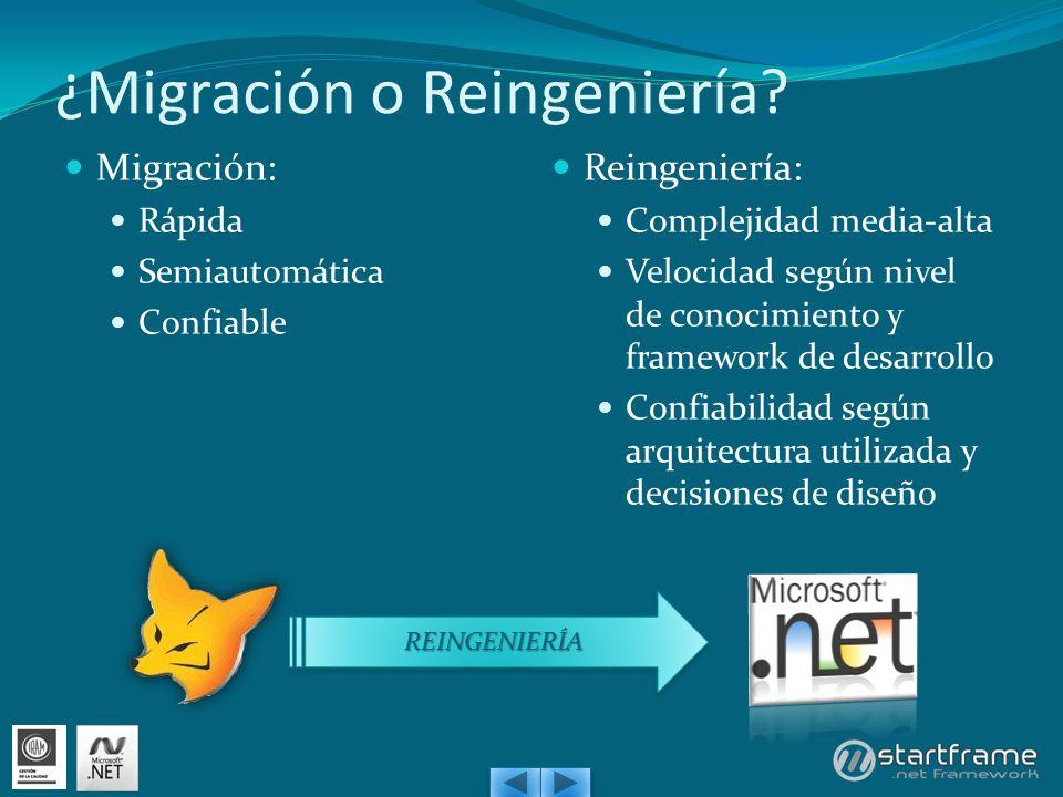 ¿Migración o Reingeniería? Migración: Rápida Semiautomática Confiable Reingeniería: Complejidad media-alta Velocidad según nivel de conocimiento y fra