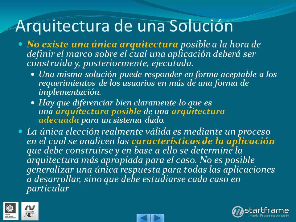 Arquitectura de una Solución No existe una única arquitectura posible a la hora de definir el marco sobre el cual una aplicación deberá ser construida y, posteriormente, ejecutada.